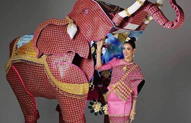 And the National Costume I thought should have won. This girl walked-out on stage INSIDE the elephant, and then emerged from it!