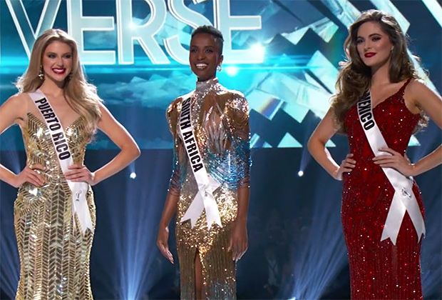 Look at Miss South Africa's honest and confident stance, especially compared to the other Top Three contestants.