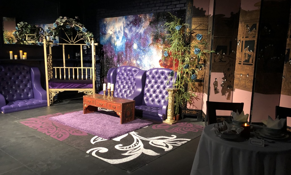 The waiting area of the fictional restaurant in the play.  Photo by Karen Salkin, as is the one at the top of this page.