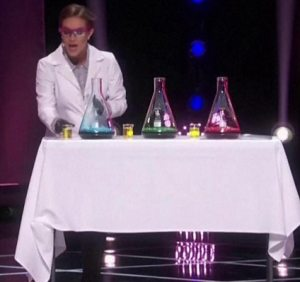"""This is the """"talent"""" that won!  She poured those small cups of peroxide into the beakers.  Shameful!"""