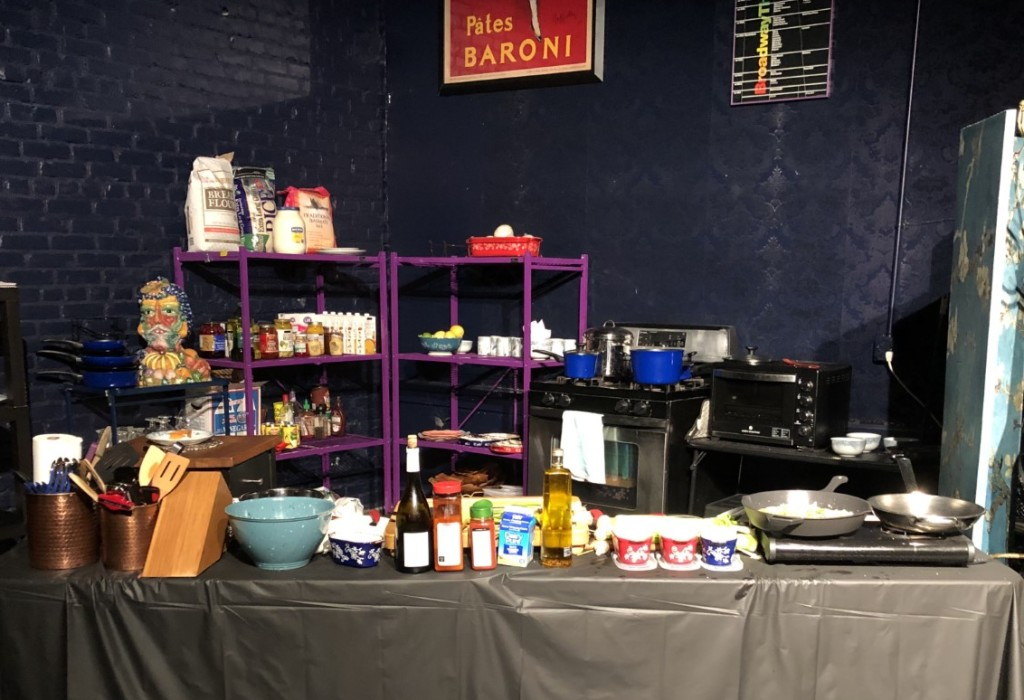 The kitchen area of the set.  Photo by Karen Salkin.