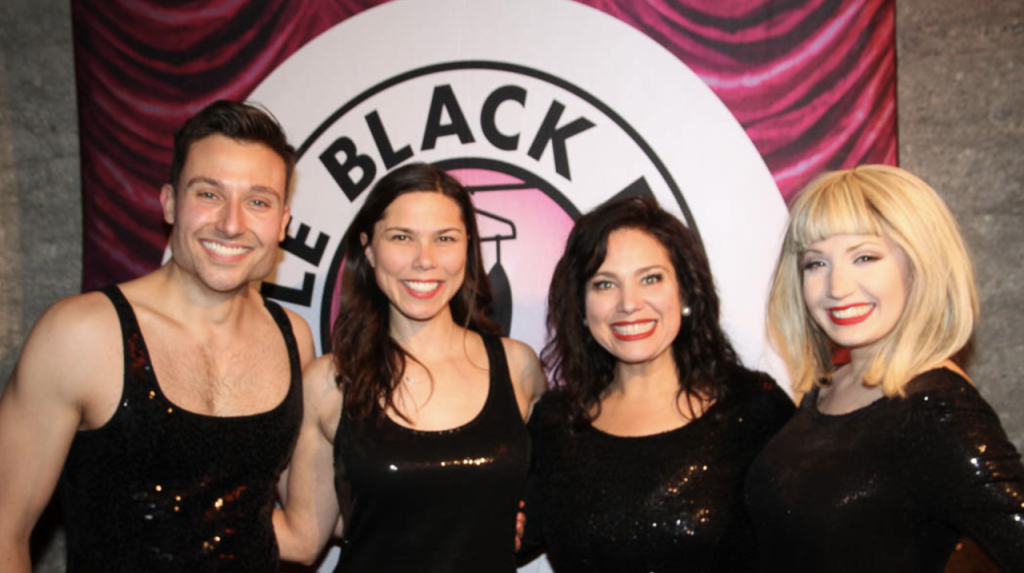 The cast at the opening night fete, in their finale costumes.  (L-R) Clint Hromsco, Danielle Trzcinski, Jennette Cronk, and Jenna Cormey.