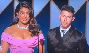 Priyanka Chopra looking like she just saw herself and her husband, Nick Jonas, on the monitor, and realized they don't go together! Photo by Karen Salkin.