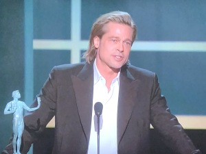 Gorgeous Brad Pitt giving his hilarious speech.  Photo by Karen Salkin.