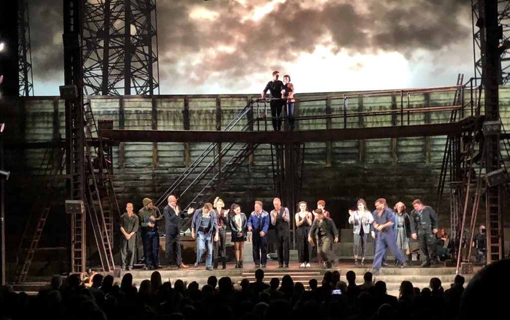 The happy, lit-up opening night curtain call for The Last Ship. Photo by Karen Salkin.