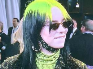 Billie Eilish, with some weird neck wrap. Photo by Karen Salkin.
