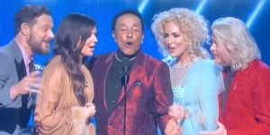 Smokey Robinson in the center, performing later on with Little Big Town, which was a highlight of the 2020 Grammys. Photo by Karen Salkin.
