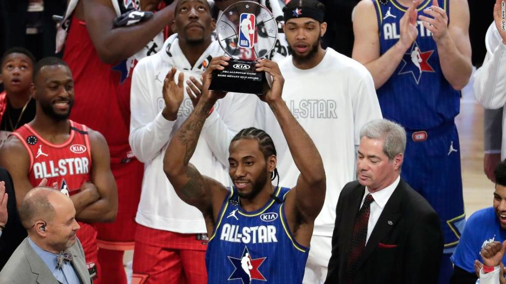 Kawhi Leonard and his MVP trophy, which was newly named for Kobe Bryant, of course.