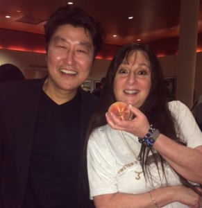 Karen Salkin (on the right) with Song Kang-ho, the star of Oscar-winning Best Picture, Parasite!  Photo by Denise Wilke.