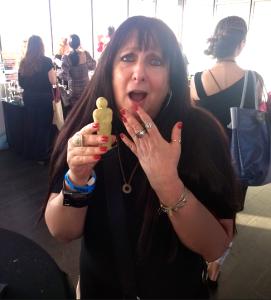 Karen Salkin, accepting her Oscar...cookie! Photo by Marc Winer.
