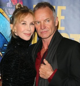 Trudie Styler and Sting.  Look at her selfish hair style!  Her last name should be taken away from her because of it!