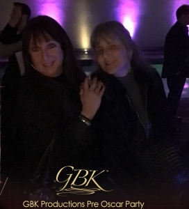 Photo booth pic of Karen Salkin on the left. (It was dark out!)