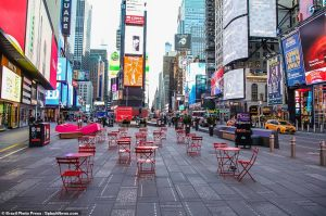 And an equally-eerie empty Times Square in NYC.