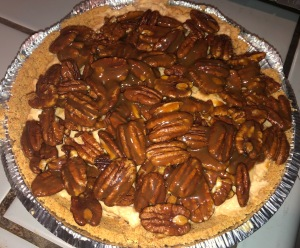 Here's a Pecan Pie Cheesecake I whipped-up for Mr. X a few months ago.  I feel another one coming on during this siege!  Photo by Karen Salkin.