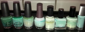 Which of these eight nail polishes did I choose for today? (Answer below.) Photo by Karen Salkin.