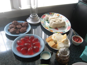 Just one of my TWO dessert tables in the Afternoon Tea I threw at my house, back in the day.  Notice the Jello e-words and pudding bunny!  Photo by Karen Salkin.