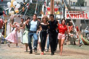 The old movie, Grease.  (L-R) Jeff Conaway, Olivia Newton-John, John Travolta, and Stockard Channing.
