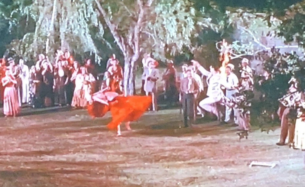 Just one of the very dumb scenes in Hot Blood.  That's supposedly Cornel Wilde leaping into the scene from the right. Photo by Karen Salkin.