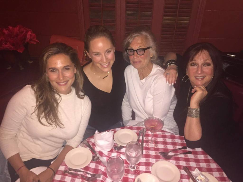 Karen Salkin on the right, at a birthday dinner with friends in the good old days (of last year!)