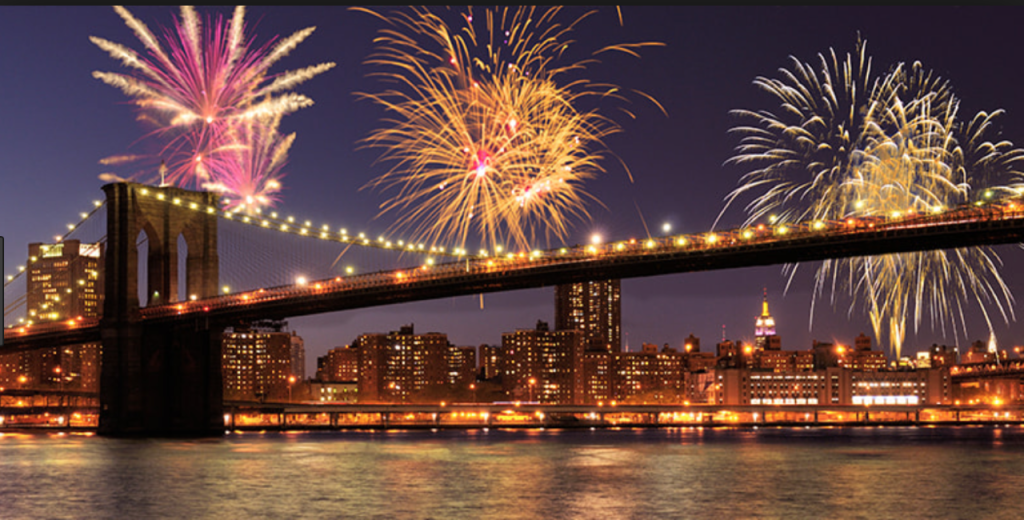 The famous Macy's fireworks, near the Brooklyn Bridge.