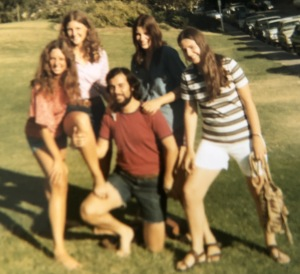Me, on the right, across from 501 Gayley Ave., the first week I arrived in LA.  (That's Mitchell Gottleib, surrounded by all his admirers.)