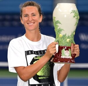 Glowing Victoria Azarenka with her trophy the other day.