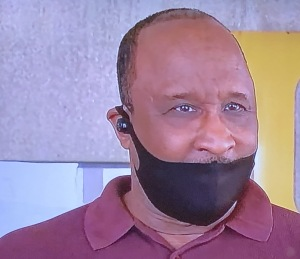 This is the Mayor of a local Los Angeles city wearing his mask the absolute wrong way...on the news!!!  OMG.  Photo by Karen Salkin.