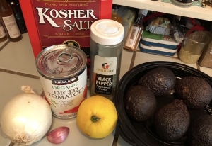 All you need for the easy  guacamole recipe. Photo by Karen Salkin.
