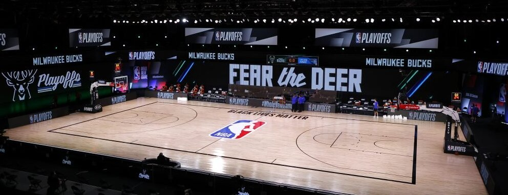 The empty NBA floor right after the games were shockingly suspended. It's just a basic basketball court, but the timing made it a very powerful image.