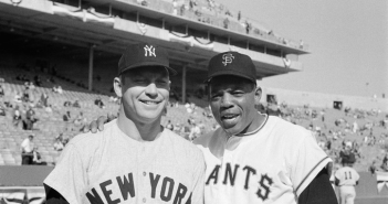 Mickey Mantle and Willie Mays posing together before the 1962 World Series. Photo by Herb Scharfman : Getty Images