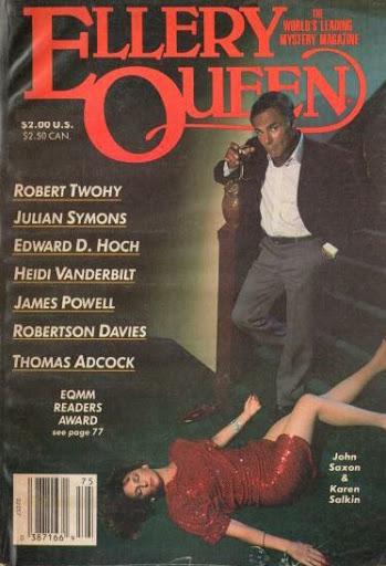 John Saxon and Karen Salkin on the cover of Ellery Queen magazine.
