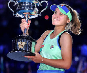 Sofia Kenin with her Aussie Open trophy in January, right before the world went all haywire.