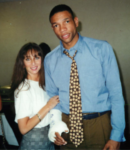 Karen Salkin and Doc Rivers.  Obviously this was waaay back in the day!  On both our parts!  Photo by Leland.