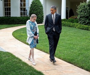 Ruth Bader Ginsburg and President Obama at the White House.