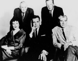 Another look at the Perry Mason Fab Five. (Clockwise from top left): Ray Collins, William Talman, William Hopper, Raymond Burr, and Barbara Hale.
