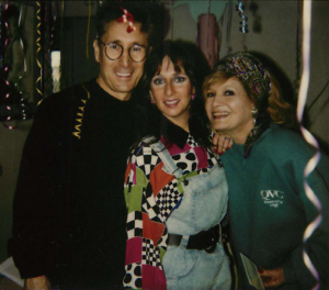 Karen Salkin (in the center) flanked by a couple of her all-time favorite actors, Ray Buktenica and Angie Dickinson.  Photo by INAM staff.