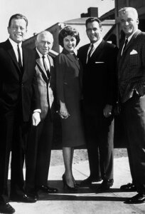 The main cast of Perry Mason.  (L-R) William Talman as Hamilton Burger, Ray Collins as Lt. Tragg, Barbara Hale as Della Street, Raymond Burr as Perry Mason, (of course!,) and William Hopper as the handsome detective Paul Drake.