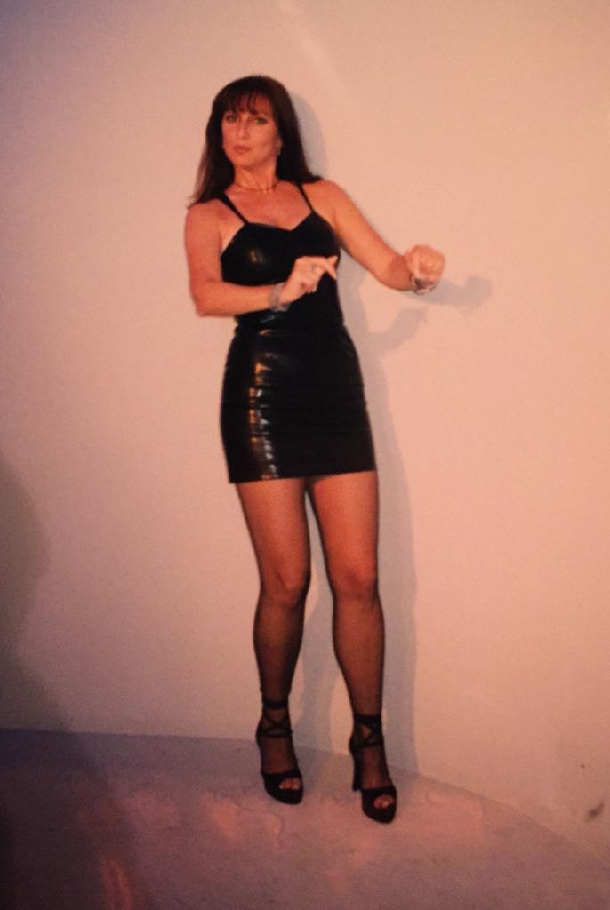 Karen Salkin dancing on an episode of Karen's Restaurant Revue.  Photo by INAM staff.
