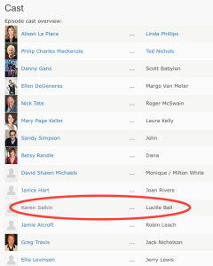"""The Open House cast list on IMDB. Who would have ever thought that my name would be listed as playing """"Lucille Ball!"""""""