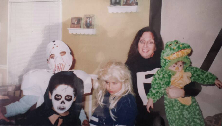 My favorite Halloween ever! Clockwise from front left: Alex Hazel, TJ Jones, Ronnie Hazel, Jr., Karen Salkin, and Collin Louro. The boys told the grown-ups where we trick-or-treated that I was their sister, Wandita! Oysh. Photo by Arianna Jones.