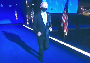 The best thing I've seen all year--seventy-seven-year-old Joe Biden jogging out to the podium to give his President-Elect speech! Photo by Karen Salkin.