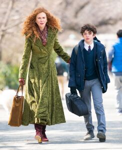 Nicole Kidman and her fabulous wardrobe, with Noah Jupe, who plays her son.
