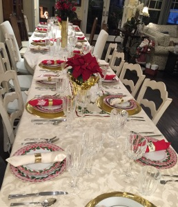 "The elegant table set-up for a former holiday party at Maria Calabrese's house. Photo by Karen Salkin.  (The photo at the top of this page is also at Maria's: Nikki D'Amico, Flo Selfman, Karen Salkin, and Maria Calabrese.  The red ""no"" circle means sadly ""Not this year!"")"