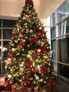 The Ahmanson Theatre lobby tree in a happier year.  Photo by Karen Salkin, as is the fun one at the top of this page.