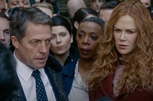 (L-R) Hugh Grant, some stranger, Noma Dumezweni, and Nicole Kidman.