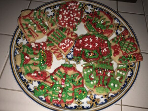 The fabulous Ugly Christmas Sweater cookies that Mr. X and I made last year.  (I know--hard to believe, right? But if WE can do it, anybody can!) Photo by Karen Salkin.