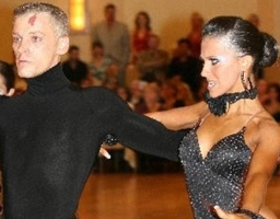 Hilaria and her dance partner, back in the day.  I guess she was always intense!