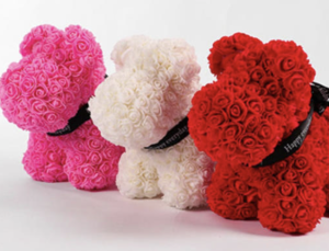 Cute little flower dogs, in Valentine's colors.