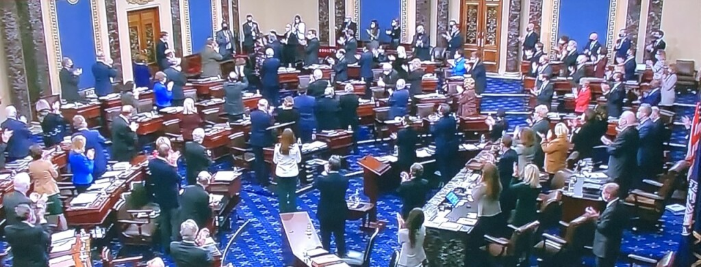 The Senators giving Officer Eugene Goodman a standing ovation. Photo by Karen Salkin, off the TV screen.