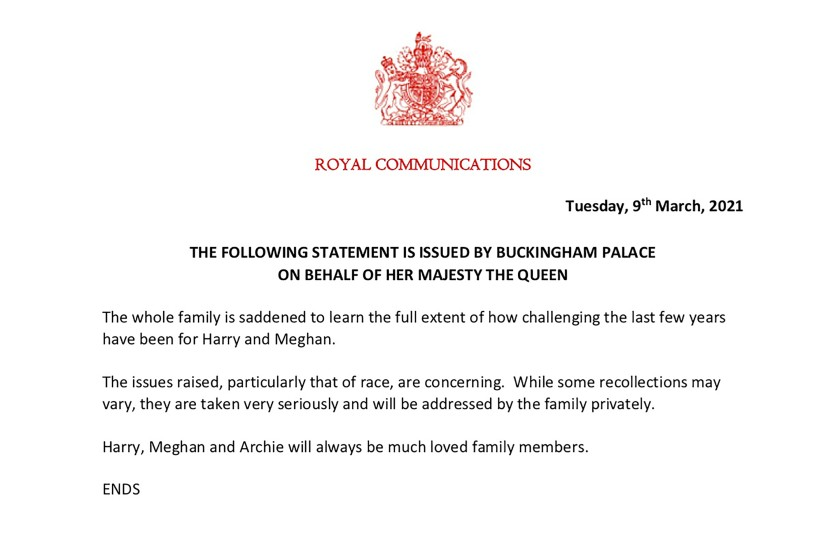 The Queen's classy statement about the interview.